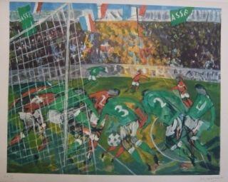 リトグラフ Bertholle - Match de football
