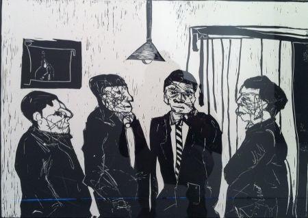 リノリウム彫版 Nhlengethwa - Men in Black