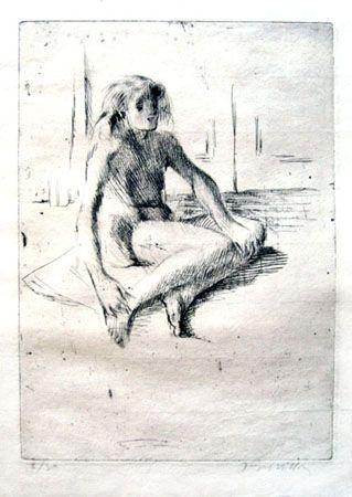 彫版 Villon - Minne assise à terre