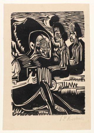 木版 Kirchner - Mondnacht (Selfportrait with accordion)