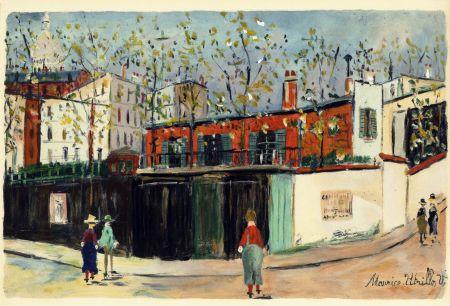 ステンシル Utrillo - MONTMARTRE (1935-38) de l'album : Douze Contemporains par J. Lassaigne (1959)