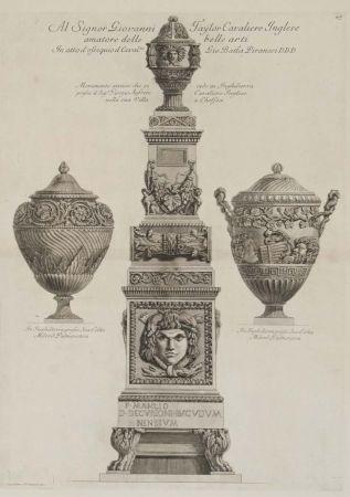 彫版 Piranesi - Monumento antiguo y dos vasos