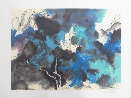 リトグラフ Po Chung - Mountain and stream in mist