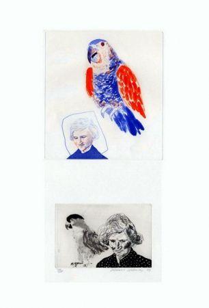 彫版 Hockney - My mother with a parrot