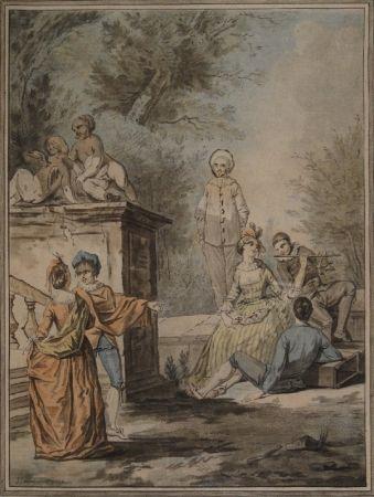 アクチアント Janinet - Nach Jean Antoine Watteau (1684-1721). Komödiantenszene
