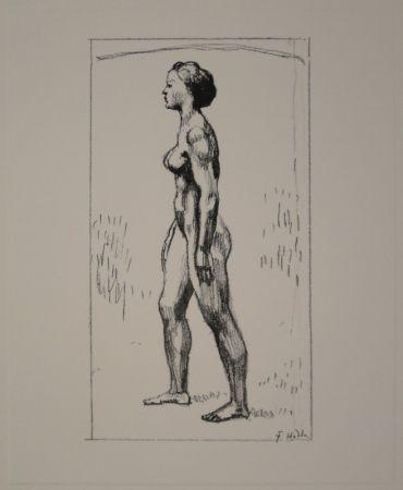 リトグラフ Hodler - Nacktes Mädchen, nach links schreitend