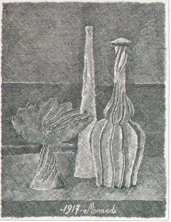 エッチング Morandi - Natura morta con compostiera, bottiglia lunga e bottiglia scannellata