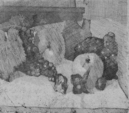 エッチング Barbisan - Natura morta con uva e fichi