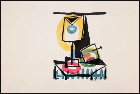 彫版 Picasso - NATURE MORTE AU VERRE ET À LA POMME (Le grand verre). Pointe sèche et burin (1944)