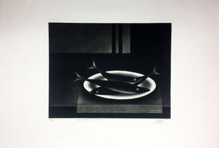 メゾチント彫法 Avati - Nature morte aux 3 poissons (1961)