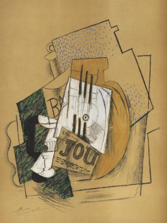ステンシル Picasso - Nature Morte Papiers collés (1912) de l'album : Douze Contemporains par J. Lassaigne (1959)