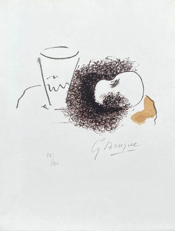 リトグラフ Braque - Nature morte verre et pomme