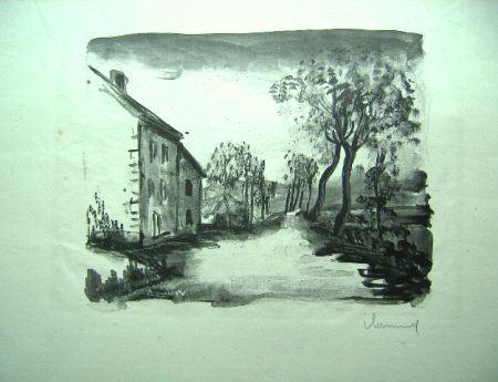 リトグラフ Vlaminck - Nelle-la-Vallee, le chemin aux Bords de Sausseron