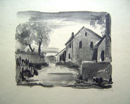 リトグラフ Vlaminck - Nelle-la-Vallee. Maisons rustiques