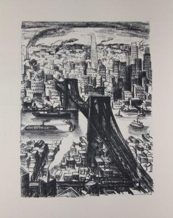 リトグラフ Lubbers - NEW-YORK - BROOKLYN BRIDGE / LE PONT DE BROOKLYN