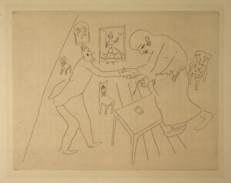 エッチング Chagall - (Nicolas Gogol, Les Ames Mortes,12)
