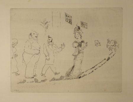 エッチング Chagall - (Nicolas Gogol, Les Ames Mortes, 34)