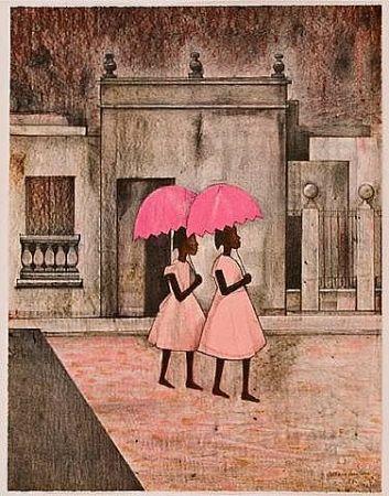 リトグラフ Montoya - Ninas con paraguas