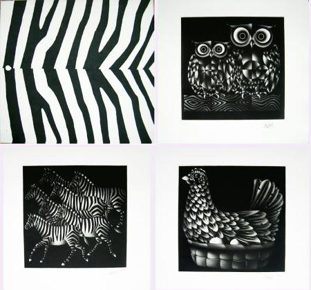 メゾチント彫法 Avati - NOAH'S ARK. Ten Mezzotints. (1971)