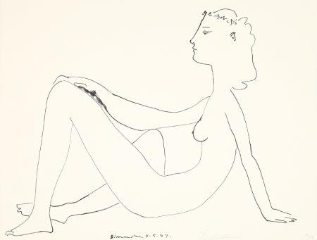 リトグラフ Picasso - Nu assis, de profil