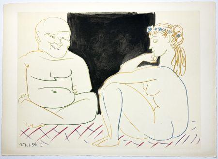 リトグラフ Picasso - Nu assis et Bouddha (La Comédie Humaine - Verve 29-30. 1954).