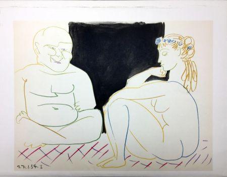 リトグラフ Picasso - Nu assis et Bouddha (La Comédie Humaine - Verve 29-30. Vallauris 1954)