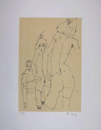 リトグラフ Schiele - NU AU MIROIR / A NUDE MODEL BEFORE A MIRROR - 1910