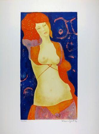 リトグラフ Bonnefoit - Nu Orange / Orange Nude