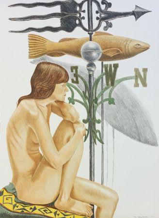 リトグラフ Pearlstein - NUDE MODEL WITH BANNER AND FISH WEATHERVANE