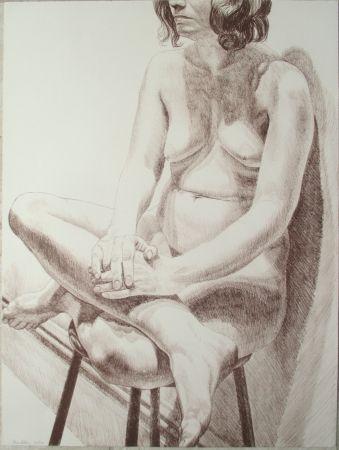 リトグラフ Pearlstein - Nude on a stool
