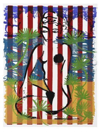 シルクスクリーン Szczesny - Nude on Red Stripes