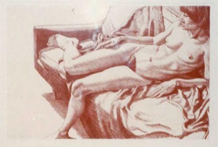 リトグラフ Pearlstein - Nude on Sofa Draped