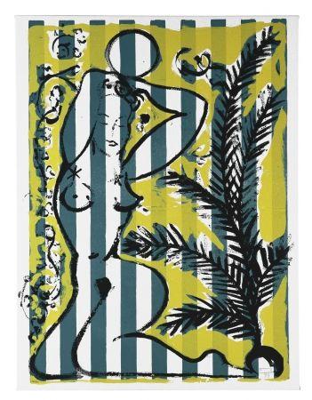 シルクスクリーン Szczesny - Nude with Palms on Green Stripes