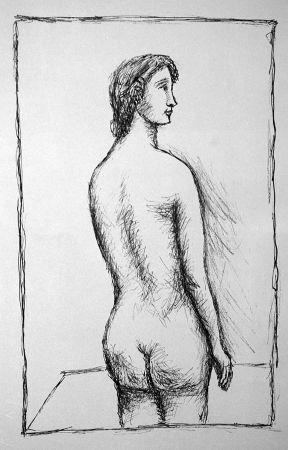 リトグラフ Carra - Nudo di schiena