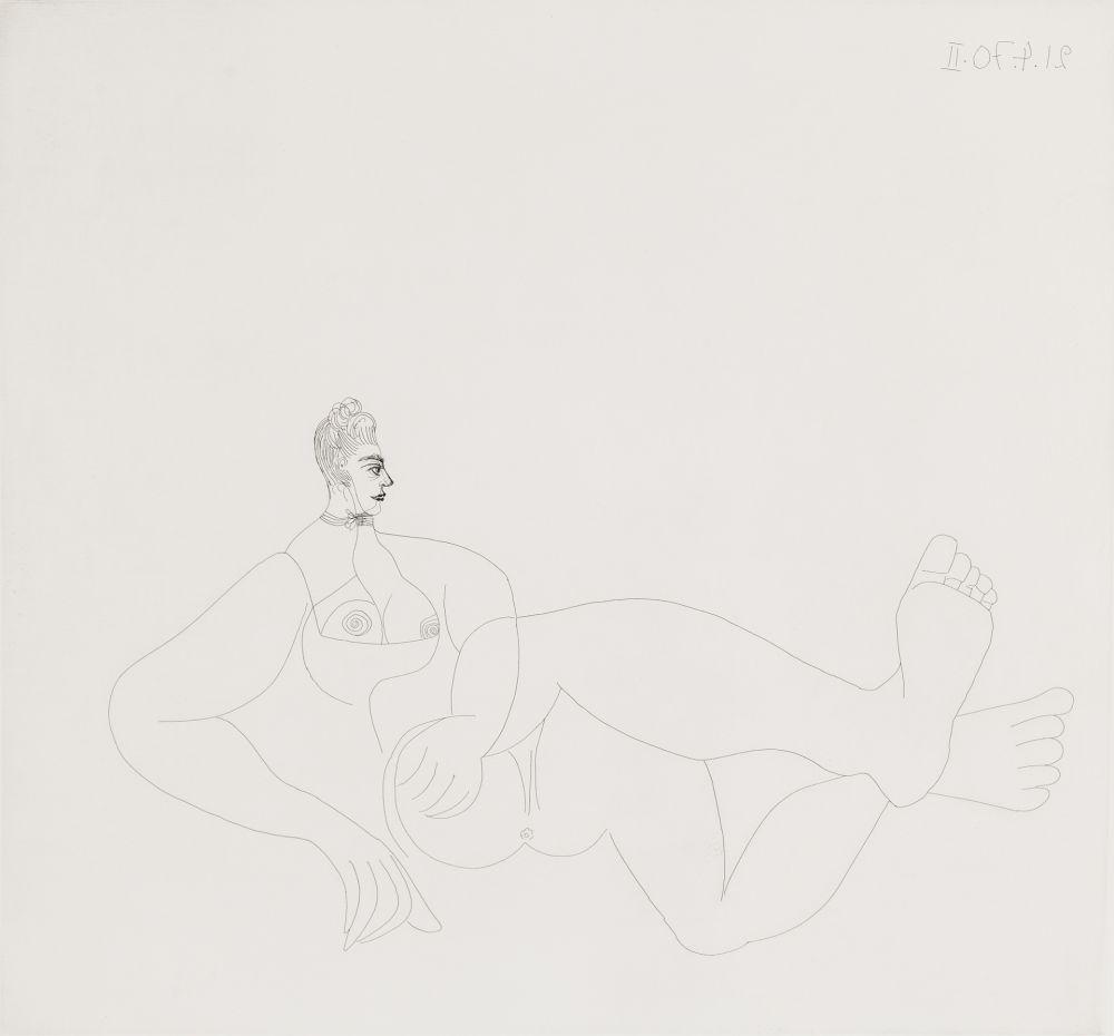 エッチング Picasso - Odalisque au collier de chien
