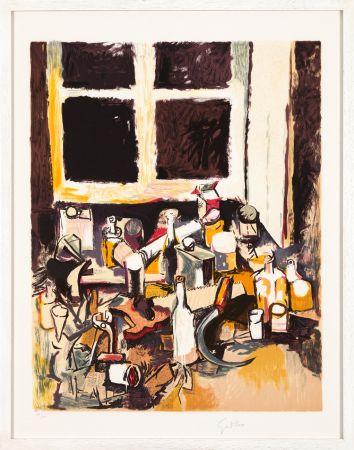リトグラフ Guttuso - Oggetti sul tavolo e finestra di sera
