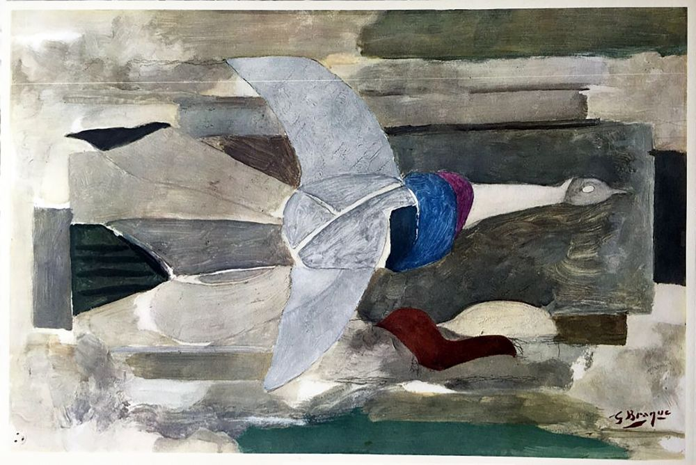 輪転グラビア印刷 Braque - Oiseau en vol (1953)