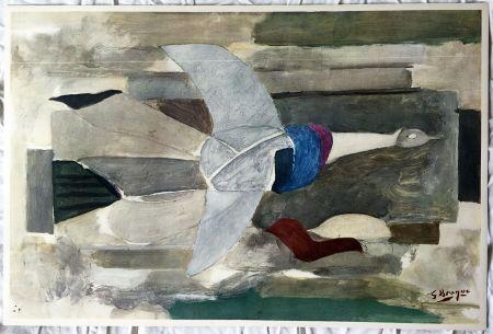 リトグラフ Braque - Oiseau en vol (1953)