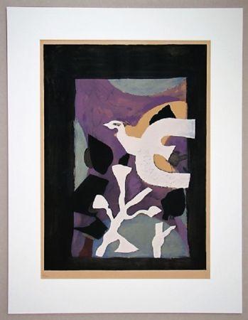 リトグラフ Braque - Oiseau Et Lotus