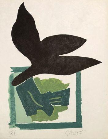 木版 Braque - Oiseau noir sur fond vert