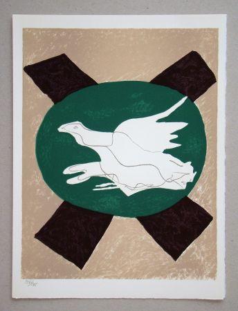 リトグラフ Braque - Oiseau sur fond de X