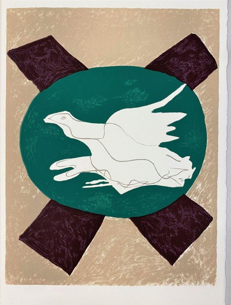 リトグラフ Braque - Oiseau sur fond X