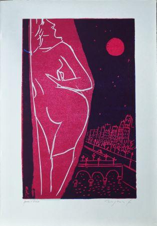 リノリウム彫版 Rognoni - Omaggio a Edith Piaf