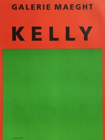 リトグラフ Kelly - ORANGE ET VERT. Afiiche lithographie originale (1964).