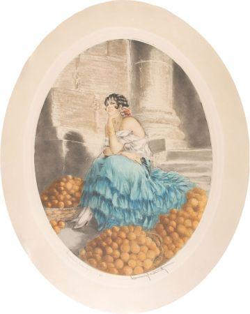 エッチング Icart - Orange seller - Marchande d'oranges