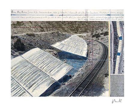 リトグラフ Christo - Over The Arkansas River, Project A