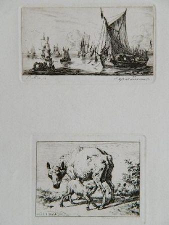 彫版 Meryon - Pêcheurs de la mer du sud (after Zeeman) [with] La brebis et les deux agneaux (after Van de Velde)