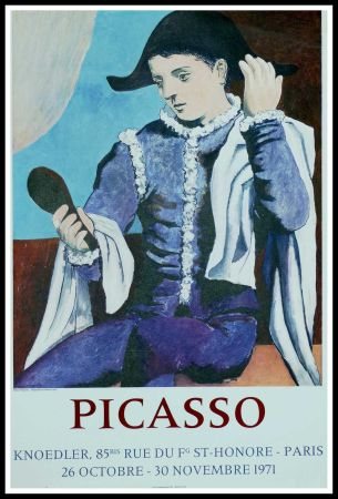 掲示 Picasso - PABLO PICASSO GALERIE KNOEDLER L'ARLEQUIN AU MIROIR