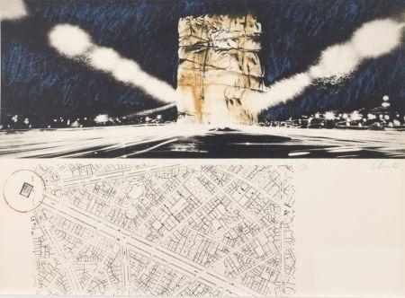 リトグラフ Christo - PACKED BUILDING PROJECT FOR THE ARC DE TRIOMPHE PARIS