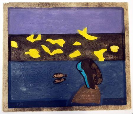 リノリウム彫版 Ortega - Paesaggio